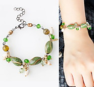 Strand Bracelets 1pc,Green Leaf Bracelet Fashionable Alloy Jewellery