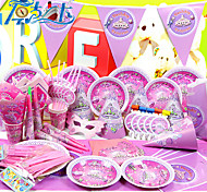 1set Plastic Tableware Sets Girl Pink