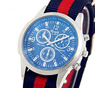 Men's Sport Watch Fashion Watch Wrist watch / Quartz Fabric Band Cool Casual White Red Green Yellow