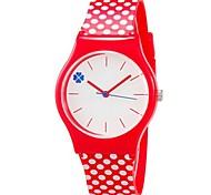 Kinder Armbanduhr Quartz Mehrfarbig Plastic Band Punkt Süßigkeit Cool Bequem Rot Rot