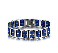 Men's ID Bracelets Jewelry Halloween/Party/Birthday/Daily/Casual Fashion Stainless Steel/Silicone /Blue 1pc  Gift