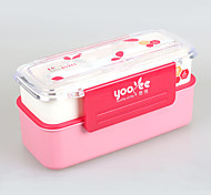yooyee à double boîte à lunch couche de plastique avec une cuillère et une fourchette