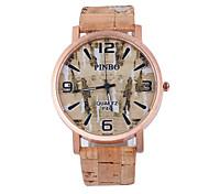 Herren Damen Unisex Armbanduhr Uhr Holz Quartz / PU Band Bequem Mehrfarbig Weiß Schwarz Gelb Rose Blau