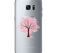Pink tree TPU Soft Back Cover Case for  Samsung Galaxy S6  S7 edge Plus