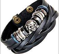 Bracelet Leather Bracelet / Wrap Bracelet Leather Skull Fashion Halloween / Casual Jewelry Gift Black1pc