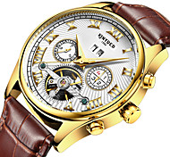KINYUED Men's Leather Band Automatic self-winding Calendar Noctilucent Mechanical Watch Gift (Include Package)