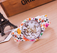 Reloj Mujer Top Brand Fashion Casual Wrist Watches Ladies Quartz Geneva Silicone Band Women Watch Of Flower Dial