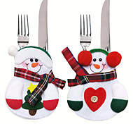 6pcs Xmas Decor Lovely Snowman Kitchen Tableware Holder Pocket Dinner Cutlery Bag Party Christmas Table Decoration