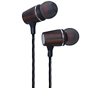 Genuine Wood In-ear Noise-isolating HeadphonesEarbudsEarphones Pure Music Ebony Wood Stereo Earbuds In Ear Headphones