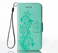 Para Funda HTC Cartera / Soporte de Coche / con Soporte / En Relieve Funda Cuerpo Entero Funda Flor Dura Cuero Sintético HTC HTC uno M8