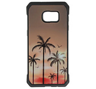 Coconut Tree Pattern Metal Plate Inlay TPU Back Case For Samsung Galaxy S7 S7E S6 S6E S6 edge plus S5