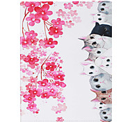 Cat Painted PU Leather Case Material Flat Bracket for  iPad Air iPad Air2