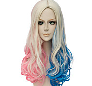 Blue and pink gradient The European and American fashion version of the long curly hair