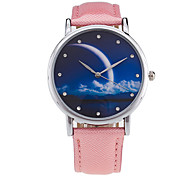 Damen Modeuhr / Armbanduhr Quartz / digital Mond Phase Leder Band Vintage / Süßigkeit / Bettelarmband / Bequem / CoolSchwarz / Weiß /