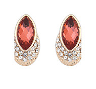 Earring Oval Jewelry Women Adorable Party Alloy / Glass 1 pair Black / White / Red / Brown