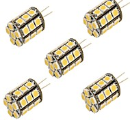 YouOKlight 5PCS G4 6W SMD 27*5050 Warm White / Cool White LED Decorative Lights DC12