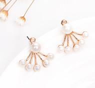 New Korean Fashion Jewelry Imitation Pearl Stud Earrings Fan-Shaped Flower Women Double Earrings Wedding Accessories