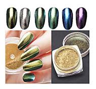 6pcs  Arrival Bling Mirror Nail Glitter Powder Gorgeous Manicure Nail Art Sequins Chrome Pigment Glitters