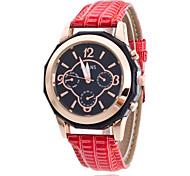 Women/Lady's PU Leather Band Black Round Case Analog Quartz Fashion Watch