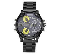 Masculino Relógio de Moda Quartz Calendário / Dois Fusos Horários Aço Inoxidável Banda Casual Preta marca