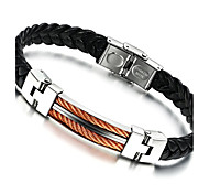 Men's Fashion Jewelry Titanium Steel Vintage Leather Bracelet Casual/Daily  Accessories Christmas Gifts