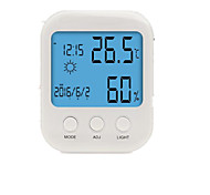 S-WS819 Home Indoor Electronic Hygrometer Large Screen Digital Alarm Clock Calendar Display Backlight Bracket