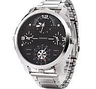 Men's Military Fashion Big Size Four Time Display Stainless Steel Quartz Wrist Watch