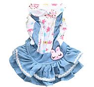 Cat / Dog Dress Blue / Light Blue Dog Clothes Spring/Fall Jeans Fashion