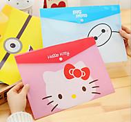 Cute Cartoon Pvca4 Envelope  Stationery Buckle Paper Bag School Supplies Creative
