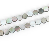 Beadia 7mm Round Natural Black Lip Sea Shell Beads(38cm/approx 55pcs)