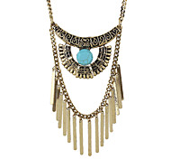 Indian Design Blue Beads Long Spike Pendant Necklace