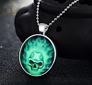 Halloween Skeleton Terrorist Evil Holiday Gifts Personality Silver Necklace