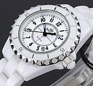 KINYUED Women's Japanese Quartz White Ceramic Band 50M Water Ressistant Fashion Watch