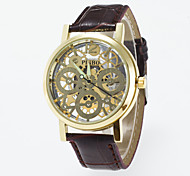 Casual  Men's Skeleton Wrist Watch Quartz Watches Of Gold Dial Black And Coffee Pu Band Imitation Mechanical Watch