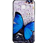 Para samsung galaxy j3 j3 (2016) capa traseira caso azul padrão de borboleta padrão padrão padrão