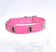 Dog Collar Adjustable/Retractable Tiaras & Crowns Pink PU Leather