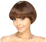 Short Straight Bob Style Medium Brown Color Synthetic Wigs for Women