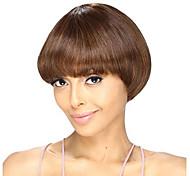 estilo corto bob recta de color marrón medio pelucas sintéticas para mujeres