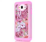 For Samsung Galaxy J7 J5 J3 J3(2016) G530 Pink Flowers Pattern Drill TPU PC Combo Material Mobile Phone Shell Case