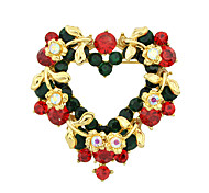 Colorful Enamel Rhinestone Heart Shape Brooches