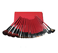 30 Makeup Brushes Set Goat Hair Professional / Portable Wood Face/Eye / Lip Red