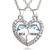 Necklace Best Friends Dolphin Pendant Necklaces Jewelry Party / Daily Unique Design Heart 1set