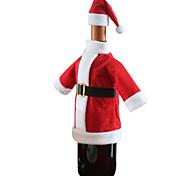 1pc natal santa tabela tampa do saco de garrafa de vinho chapéu roupa terno dom jantar decoração