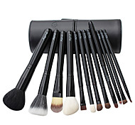 12 Makeup Brushes Set Goat Hair Professional / Portable Wood Handle Face/Eye/Lip Black