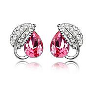 Austrian Crystal Earrings - Acacia Leaf Earrings