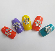 10Pcs Nail Art Act The Role Ofing Is Tasted White Diamond Inlaid Hollow-out Snowflakes