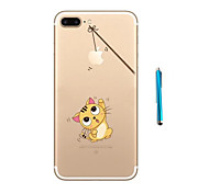 Cat Pattern Soft TPU Bumper Case for Apple iPhone 7 Plus 7 and Stylus