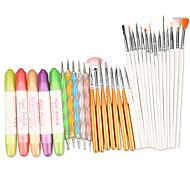 Maniküre-Sets Werkzeuge 3 in 1 Nagel Set Kunst entwerfen Pen polnischen Malerei Pinsel Punktierung