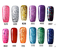 Glitter Polish UV&LED Lamp Glitter Gel Nail Soak Off Color Art Gel Gel Polish