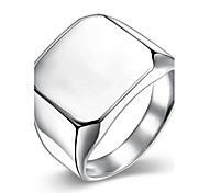 Male Engagement Rings Classic 18K/White Gold Plated 316L Stainless Steel Glossy Big Square Ring Trendy Wedding Jewelry